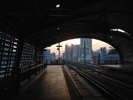 sunrise at airport rail link Phayathai in bangkok thailand
