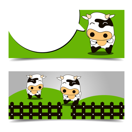cow and card brochure template Illustration