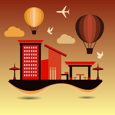 destination: Architecture Flat Design and Travel Destination,Vector illustration Illustration