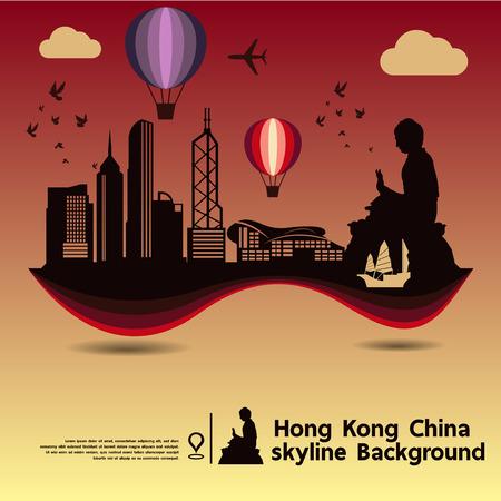 hong kong harbour: Hong Kong,China, skyline design and  travel destination,