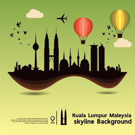 moonrise: Kuala Lumpur, Malaysia, skyline design and  travel destination, vector Illustration