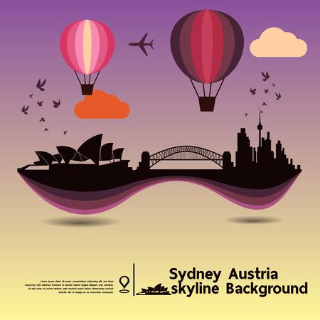 sydney skyline: Sydney, Austria, skyline design and  travel destination, vector Illustration