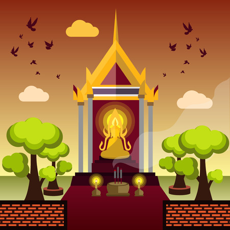 buddha statue: Buddha sitting and temple ,Vector illustration