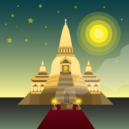 Buddha sitting and temple ,Vector illustration