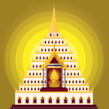 an obeisance: Buddha sitting and temple ,Vector illustration