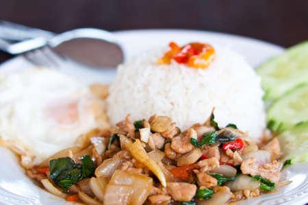 moo: Thai food kapao moo Stock Photo