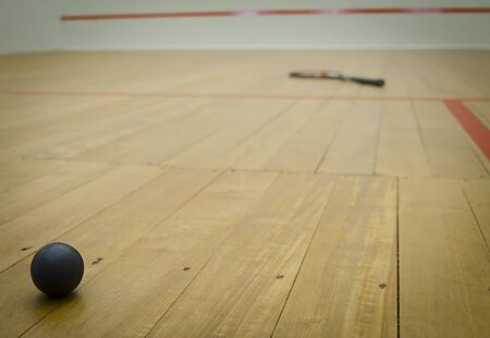 center court: squash ball