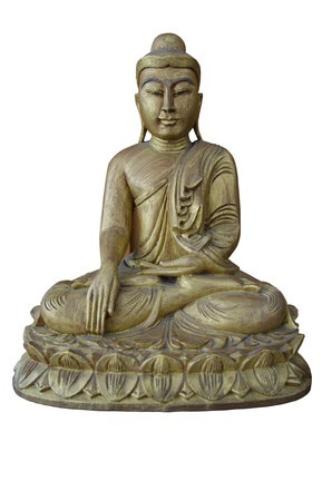 wooden budha on white background photo