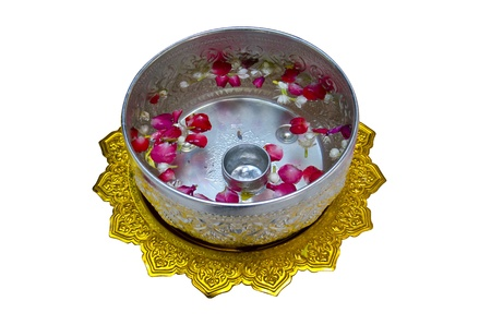 silver water bowl on water festival white background Thailand