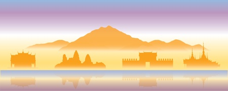 stupa: temple  in Thailand. vector file.