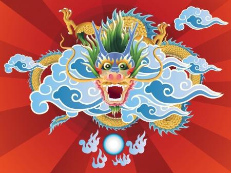 Dragon ball et de cristal sur fond rouge. Banque d'images - 21058075