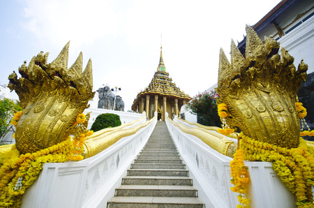 snake and ladder: Buddhist Temple  Wat Phrabuddhabat, Saraburi, Thailand Stock Photo