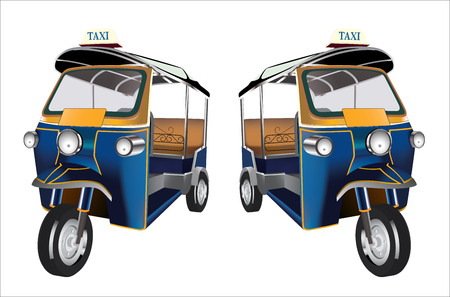 Tuk Tuk in Bangkok of Thailand, Vector Illustration