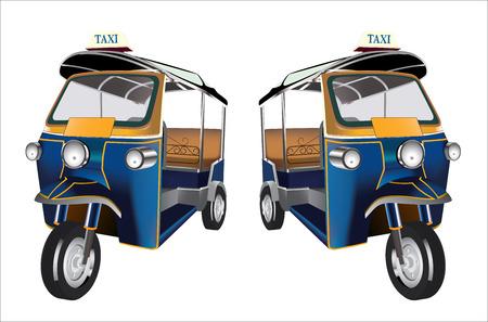 Tuk Tuk in Bangkok of Thailand, Vector Vector Illustration