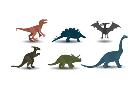 Collection of Dinosaurs on white background Vector