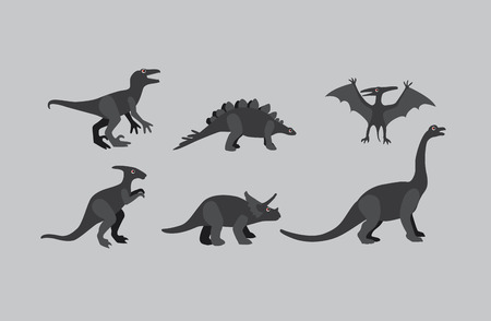 greyscale: Collection of greyscale Dinosaurs on grey background