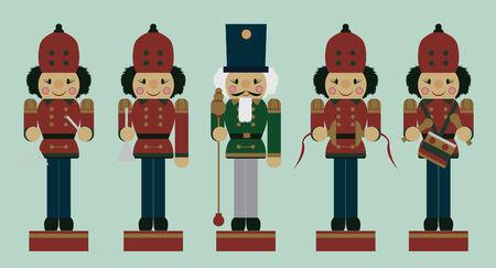 set of christmas musician soldier nutcrackers Vector