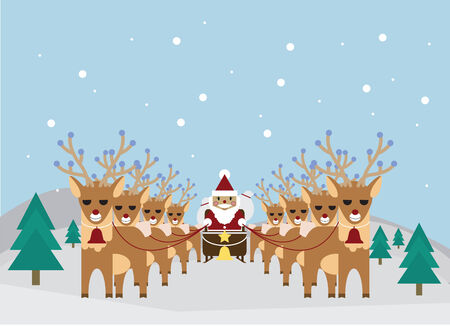 northpole: vector of santa and reindeer at northpole