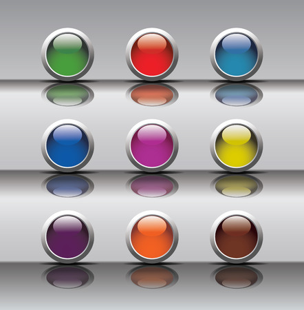 push button: 9 push button icons with silver background
