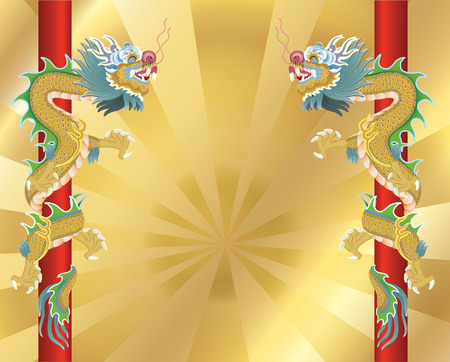 2 dragons on gold background Vector