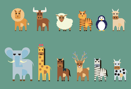 Vector set of animal lion,bull, sheep, tiger, penguin, ox, elephant, giraffe, horse, deer, zebra, cow Vector