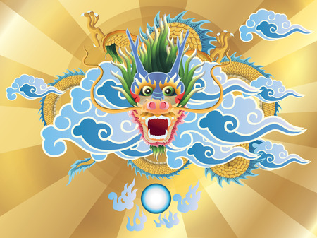 chinese temple: dragon and crystal ball on golden background. vector.