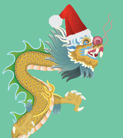 christmas dragon:  dragon wear christmas hat