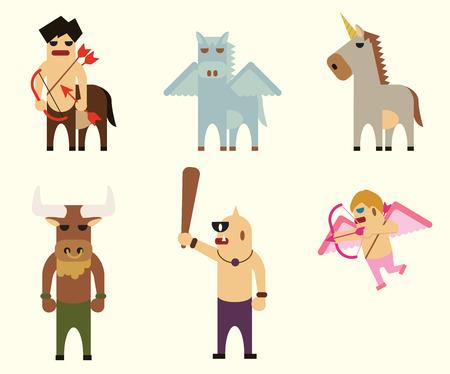 pegasus: vector 6 personajes de la mitología griega. unicornio, pegaso, centauro, cupido, cíclope, minotauro.