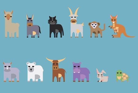 mountain goat: set of animal. parma, donkey, black panther, mountain goat, monkey, kangaroo, hippopotamus, rhinoceros, polar bear, buff Illustration