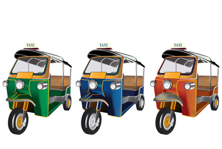 tuk tuk: 3 colors Tuk Tuk in Thailand. vector file