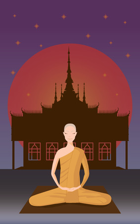 illus: monk meditation in front of temple