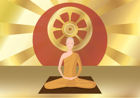 illus: monk meditation in front of  the wheel of the law on gold blckground., horizontal.