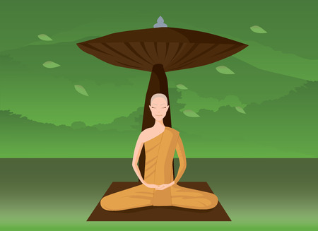 monk meditation in the forest, horizontal