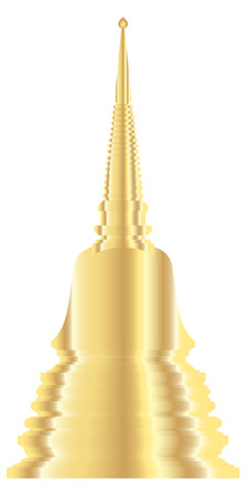 stupa: vector of golden pagoda in Thailand.