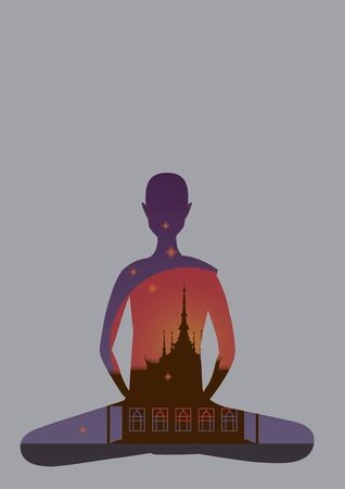 form of monk in front of the temple on buddhist holy day, vector file.