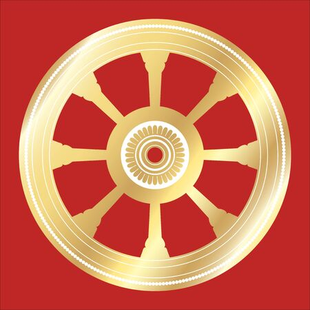 temple of heaven: vector of wheel of law in Bhuddhism on red background. Illustration