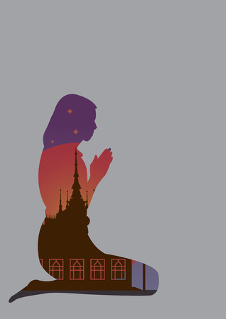 illus: form of girl in front of the temple on buddhist holy day, vector file.