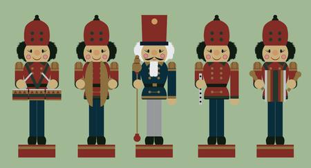 tenor: set of christmas musician soldier nutcrackers, vector