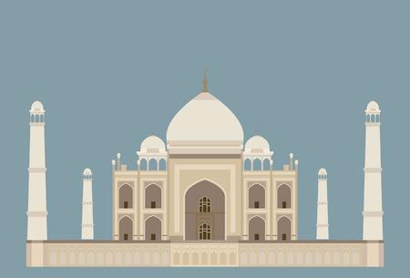 mahal: taj mahal, india on blue background Illustration