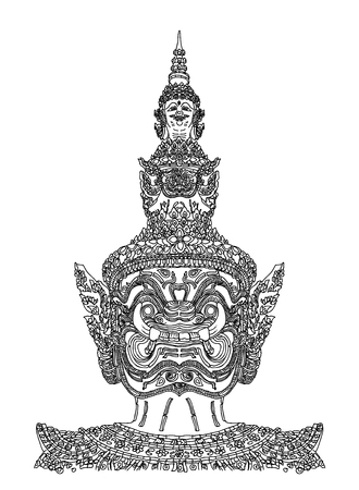 bangkok night: Thai giant drawing on white background