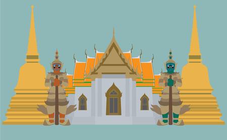 Templo tailandés con el gigante y la pagoda, Babgkok, Tailandia en el fondo azul