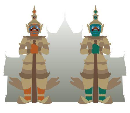 guardián gigante con el fondo del templo