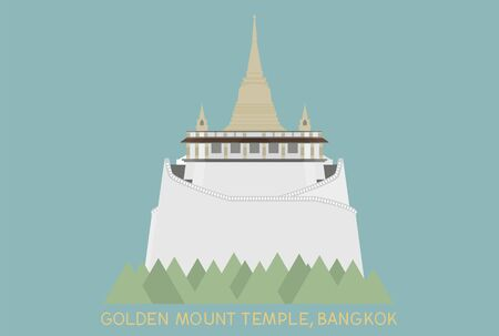 china town: golden mount in Bangkok Thailand on blue background