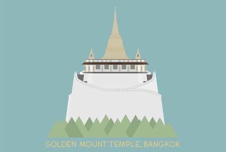 stupa: golden mount in Bangkok Thailand on blue background
