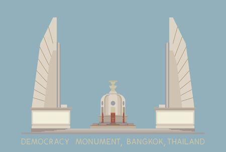 Democracy Monument on blue background, Bangkok, Thailand