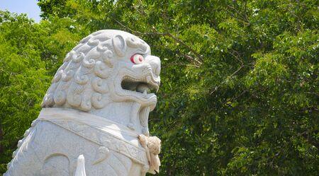 ang thong: Lion sculpture at Chantharangsi Temple, Ang Thong, Thailand. There is a figure of Phra Mngkol Theb Muni inside. Stock Photo