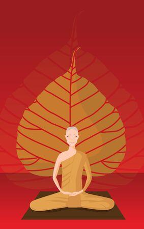 monk meditation in front of bothi leaf Illustration