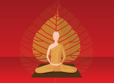 monk meditation in front of bothi leaf 向量圖像
