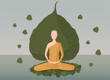 buddhist monk: monk meditation in front of green bothi leaf