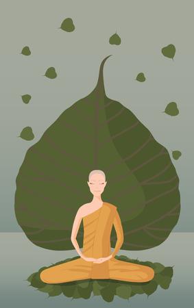 monk meditation in front of green bothi leaf